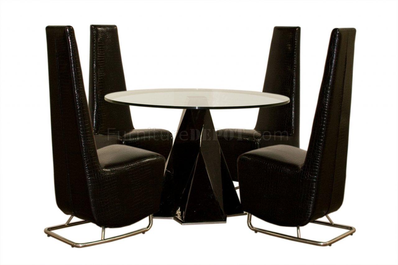 Crocodile Black Vinyl Set of 2 Modern Tall Dining Side Chairs