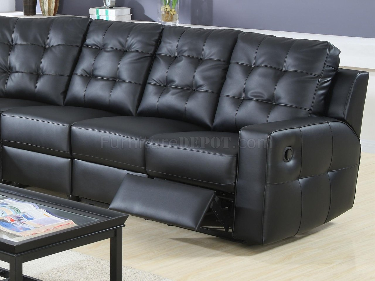 modern bonded leather sectional sofa with recliners ethan allen preston 90 double reclining 600315 black