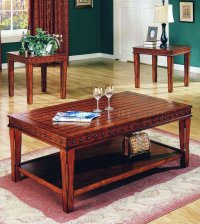 Pine Solid Wood Stylish 3Pc Coffee Table Set w/Nail Head ...