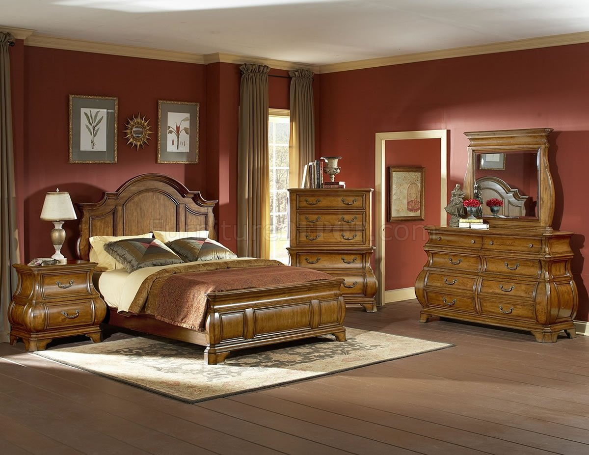 Warm Brown Finish Traditional Style Bedroom wOptional Items