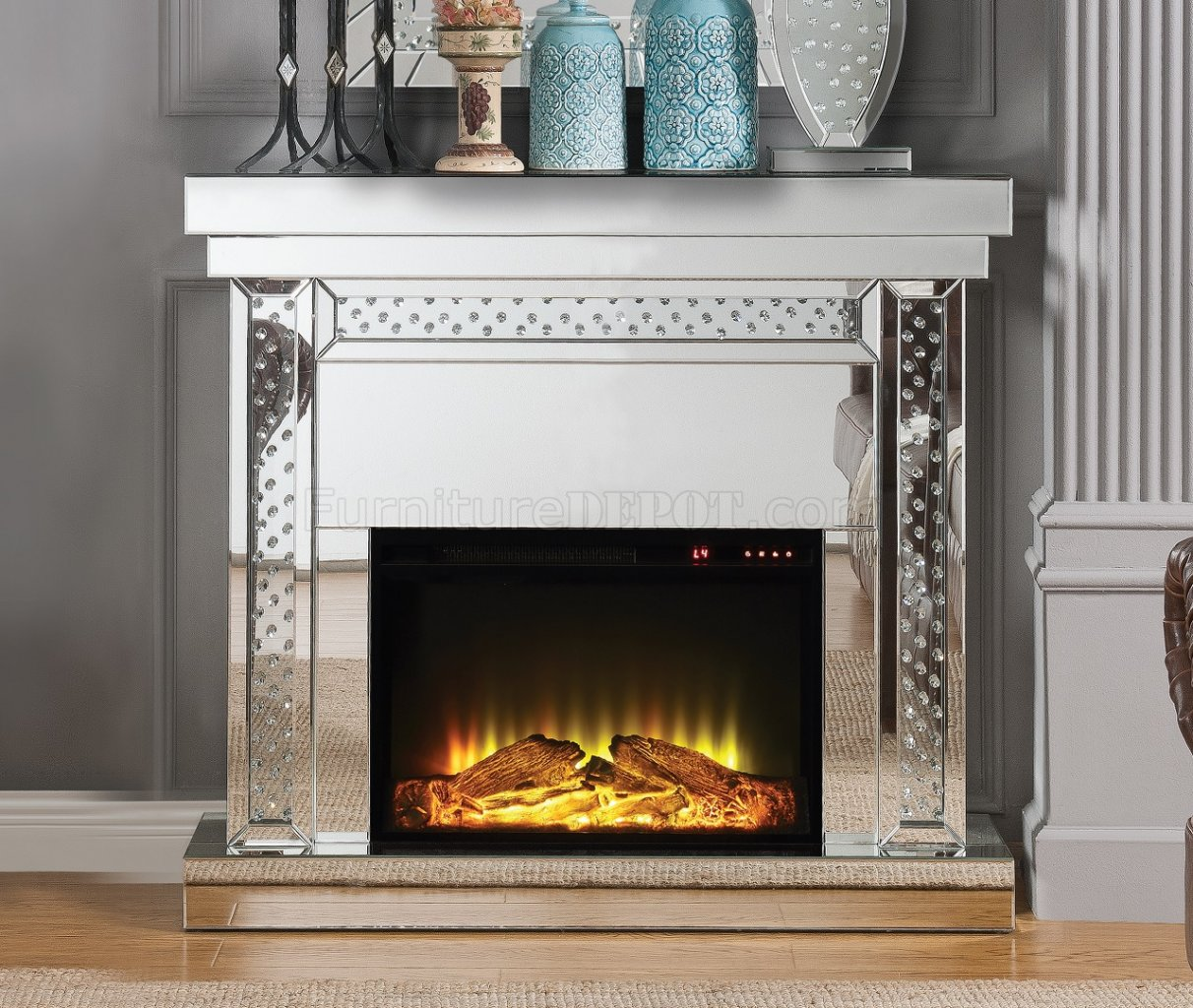 Nysa Fireplace 90272 in Mirror by Acme w/Adjustable