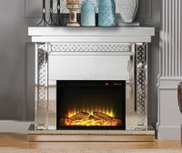 Nysa Fireplace 90272 in Mirror by Acme w/Adjustable ...
