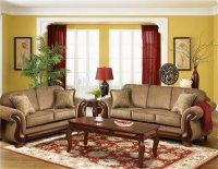 Transitional Living Room Everlast U213 Light Brown Chenille