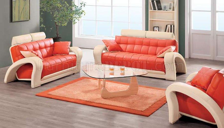 red leather living room furniture set drawers contemporary orange beige bonded 7030 sofa