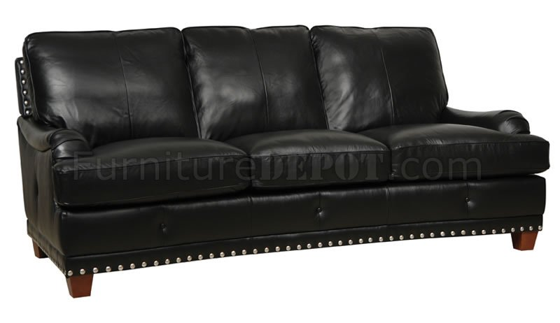 black leather sofa with nailheads sleeper minneapolis full italian classic 4pc set w nailhead trim