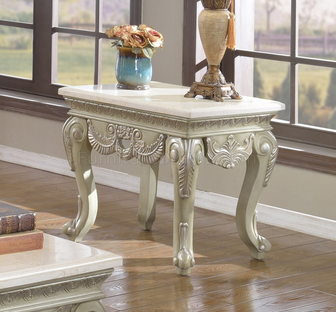Positano 221 Coffee Table In Antique Style White WMarble
