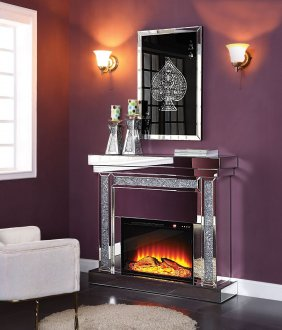 Noralie Electric Fireplace 90470 In Mirror By Acme