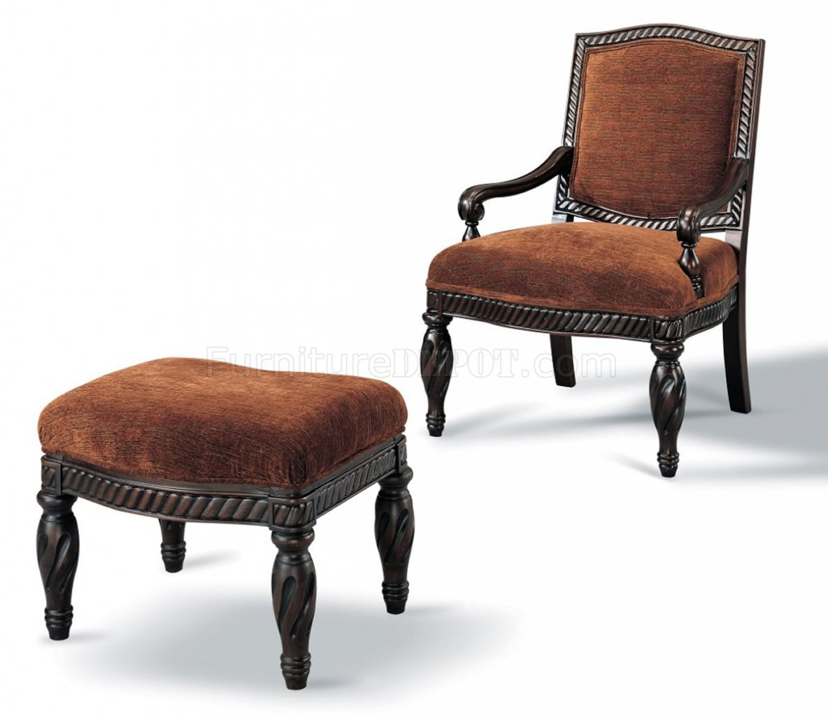 brown accent chair with ottoman cynthia rowley nailhead chairs dark finished elegant w matching