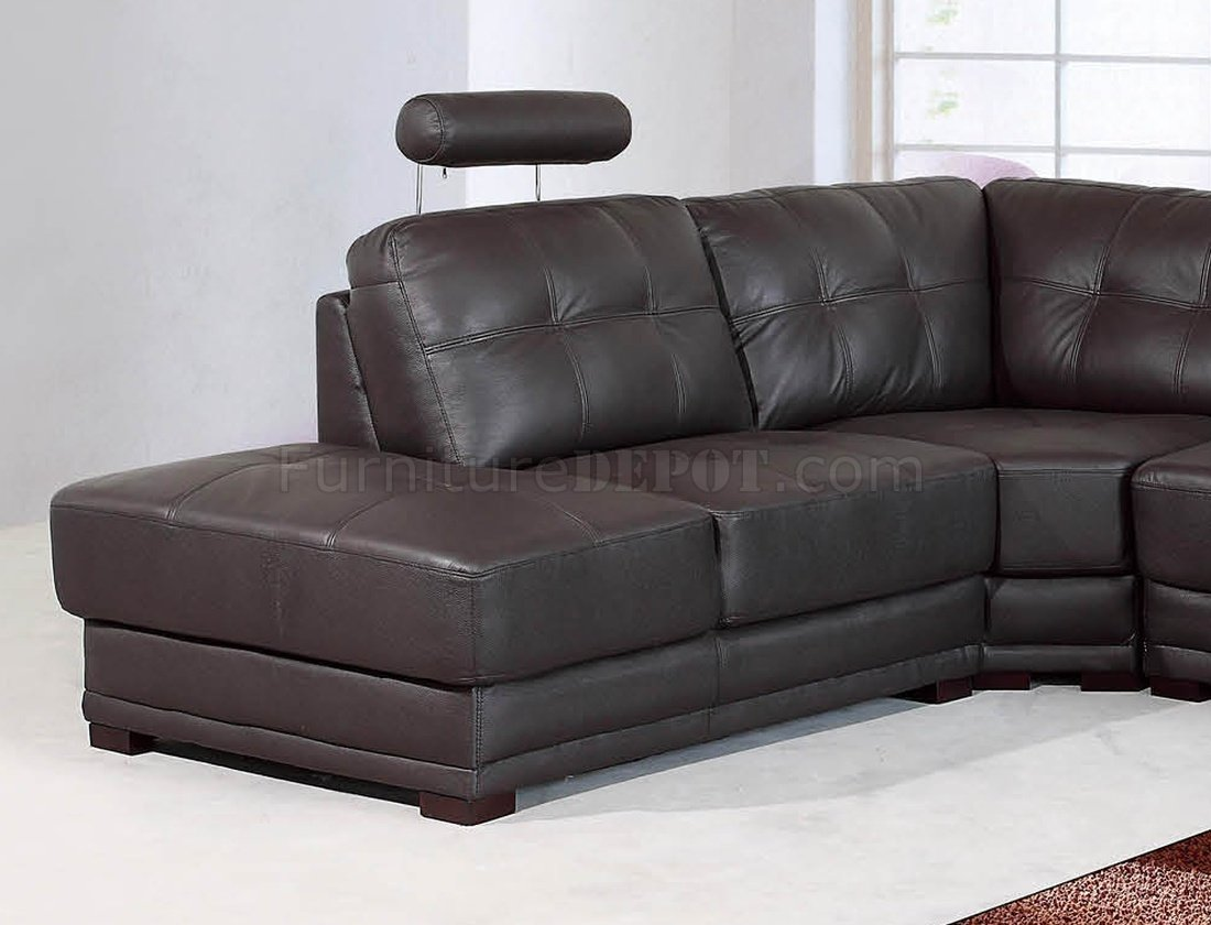 left arm sofa sectional corner sofas quick delivery dark brown leather modern w/adjustable ...