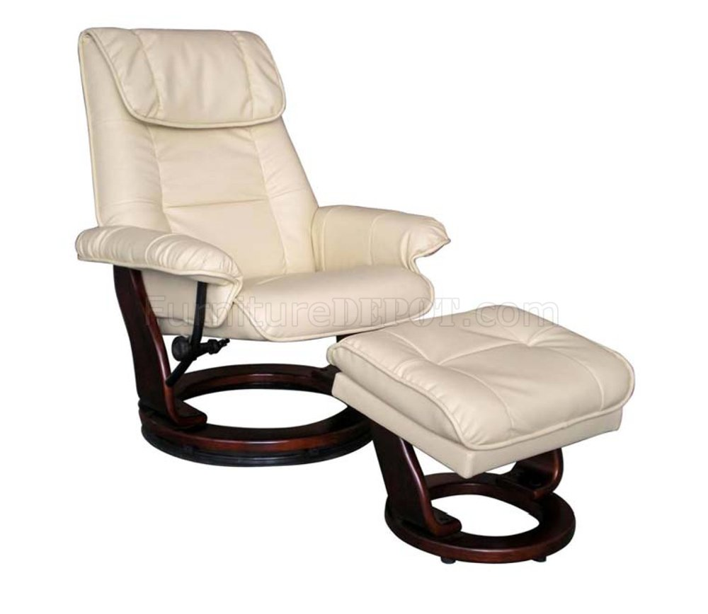 modern recliner chair midcentury rocking taupe or brown bonded leather w ottoman