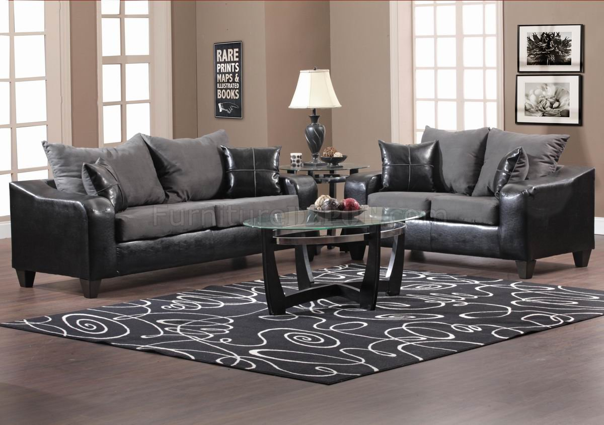 gray modern sofa set how to clean fabric black vinyl and grey loveseat w