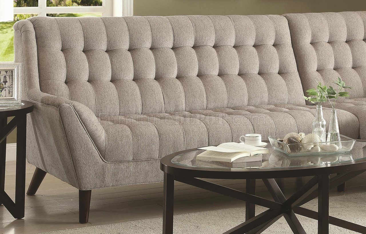 natalia leather and chenille sofa parker knoll albany sectional 503777 in dove grey fabric by coaster