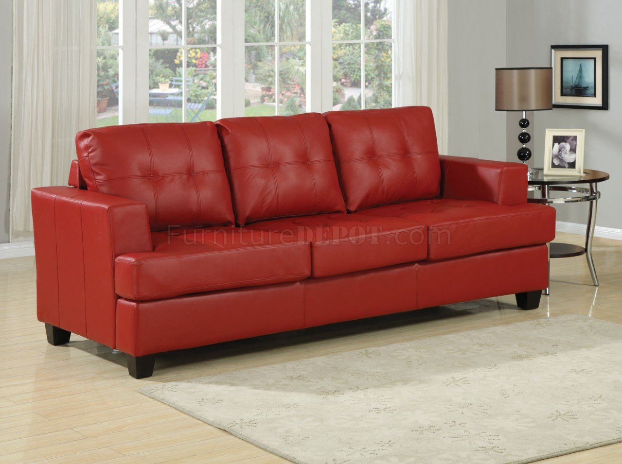 Red Bonded Leather Modern Sofa WQueen Size Sleeper