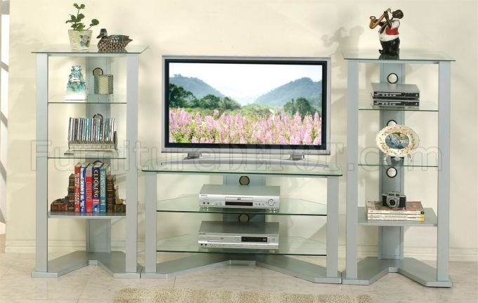 living room glass shelves couch cushions silver modern tv stand w optional shelf units