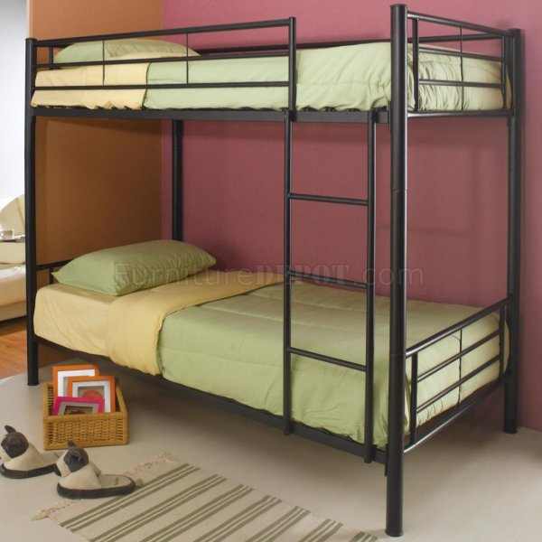 Black Metal Modern Twin Over Bunk Bed Withattached Ladder