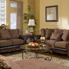 Ashley Faux Leather Sofa Reviews Table Black Distressed Walnut Fabric And Loveseat Set By Pns U346
