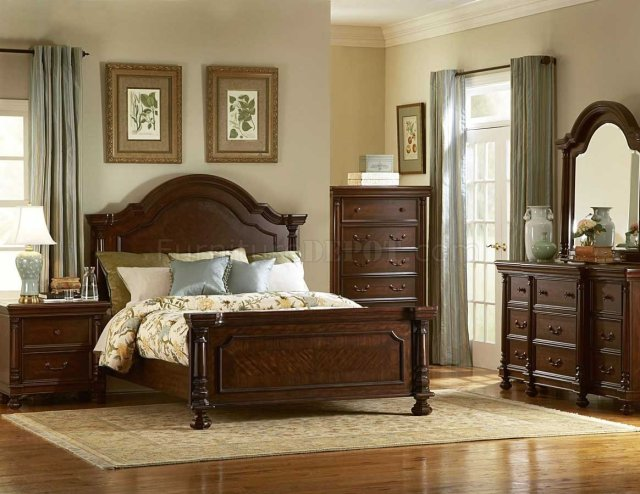 Dark Brown Finish Traditional Bedroom w/Optional Items