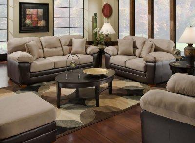 Mocha Microfiber Sofa  Loveseat Set wBonded Leather Base
