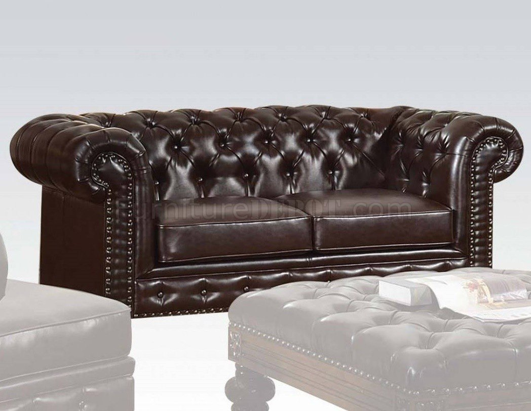 acme sectional sofa chocolate how to make a fondant chair shantoria 51315 in dark brown bonded leather by