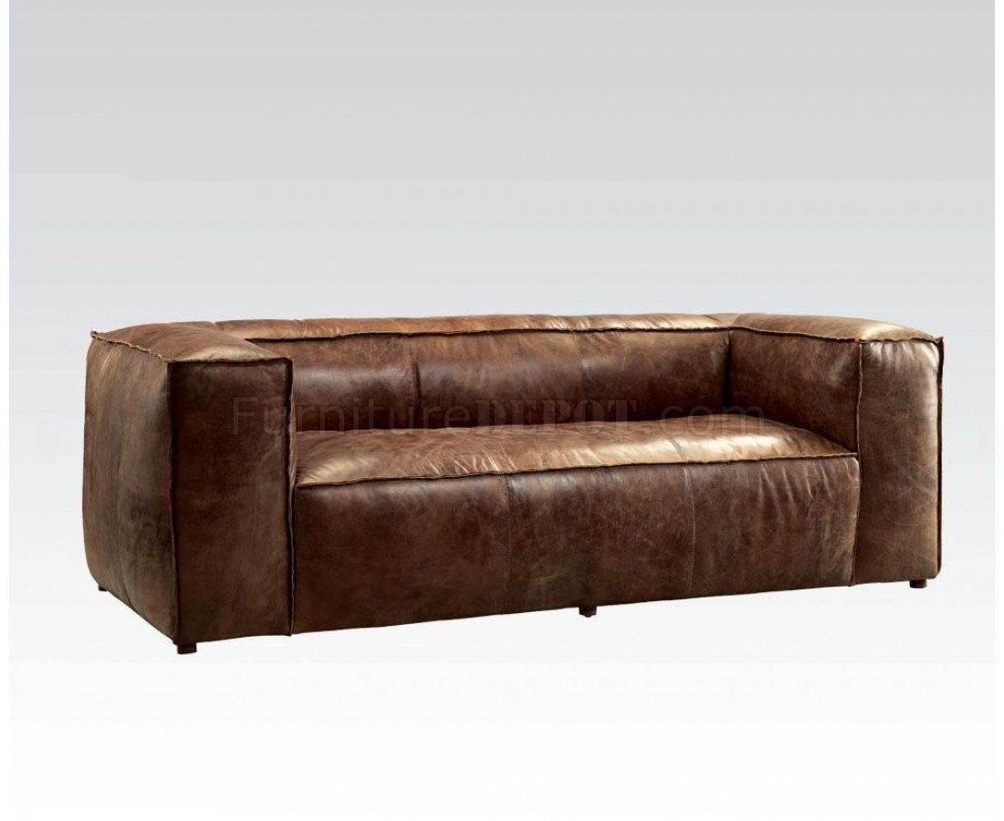 acme sectional sofa chocolate dining table set brancaster 53545 in brown leather by w options