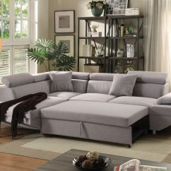 Sleeper Sofa Miami Fl Ashley Furniture Corley Reviews Jemima Sectional W 52990 In Gray Fabric By Acme