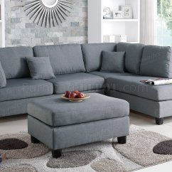 Grey Fabric L Shaped Sofa Cleaning Sw London F7606 Sectional In By Boss W Ottoman