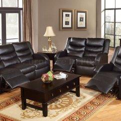 Espresso Bonded Leather Reclining Sofa Loveseat Set Teak Wood Bangalore F6655 Motion By Boss W Options