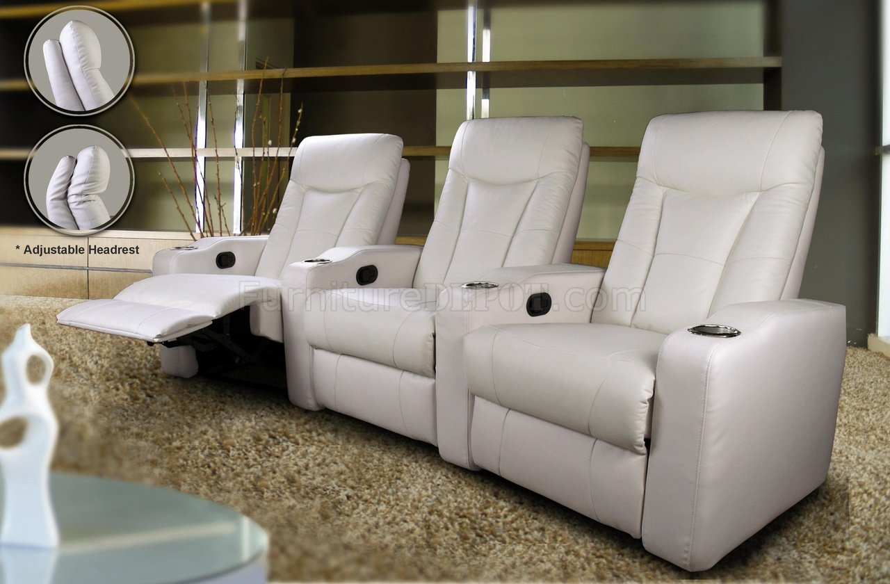 White Leatherette Home Theater Recliners wAdjustable