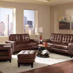 Bonded Leather Sofa And Loveseat Standard Sizes Us 504431 Paige In Brown By Coaster W/options