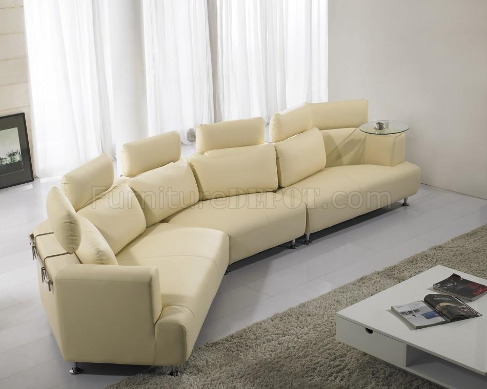 cream full leather chaise sectional sofa clic clack beds wave shape modern