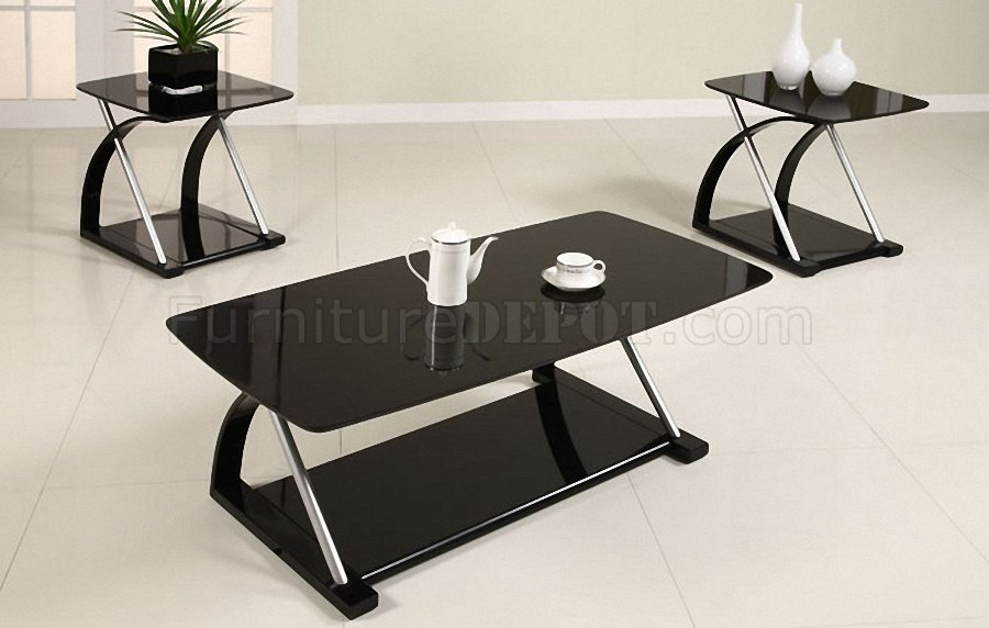 black glass modern 3pc coffee table set