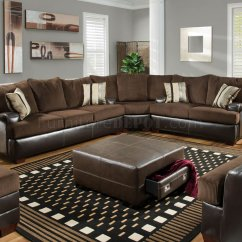 Brown Leather And Fabric Sectional Sofa Ashley Vista Left Corner Chaise Chocolate Godiva Modern W Bonded