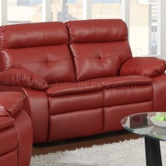 Bonded Leather Reclining Sofa Set Marlow Loveseat And Chair G570a & In Red By Glory
