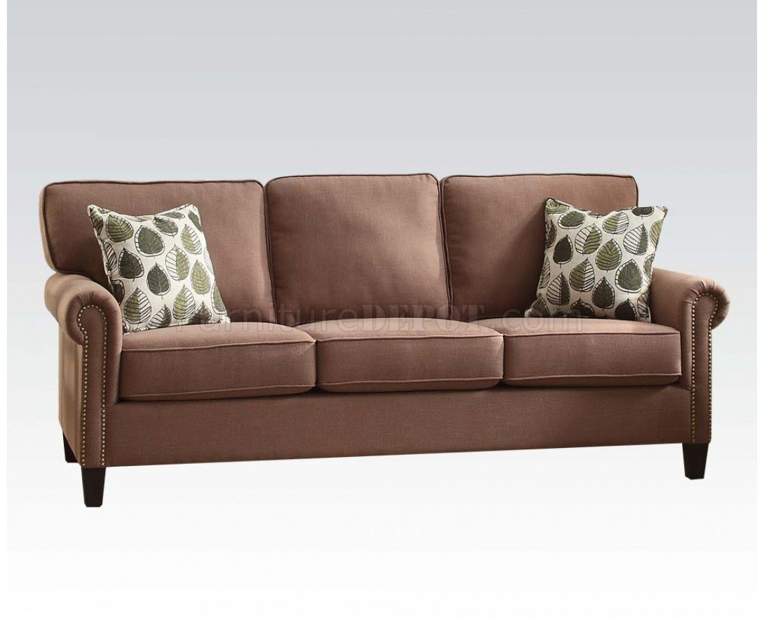 acme sectional sofa chocolate taupe decorating ideas felise 52590 in light brown fabric by w options