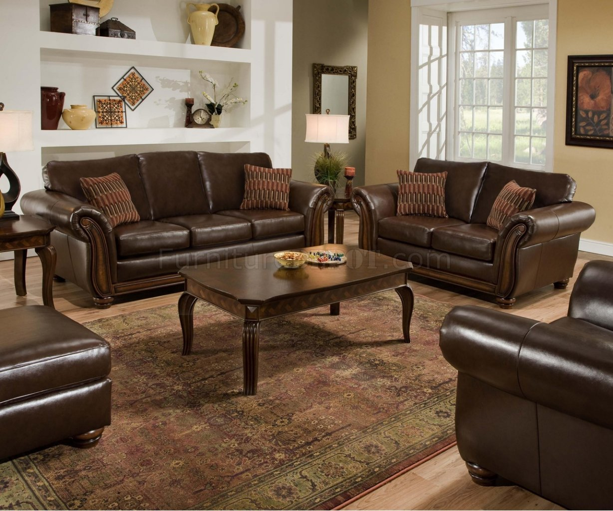 Vintage Soft Bonded Leather Sofa & Loveseat Set w/Flair Arms