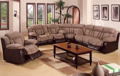 Saddle Microfiber Contemporary Reclining Sectional Sofa