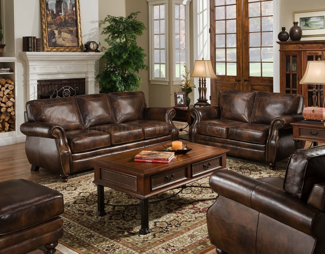 Brown Top Grain Leather Traditional Sofa WOptional Items