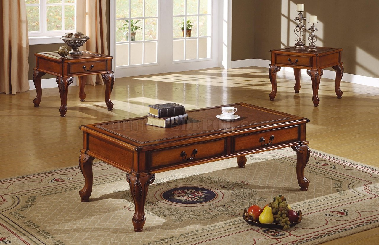 Walnut Traditional 3Pc Coffee Table wLeather Like Antique Top