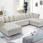Presley Sectional Sofa 698 In Cream Velvet Fabric By Meridian