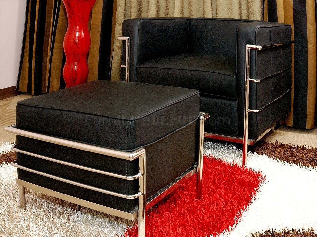 leather chair ottoman set nice bedroom le corbusier style and in black