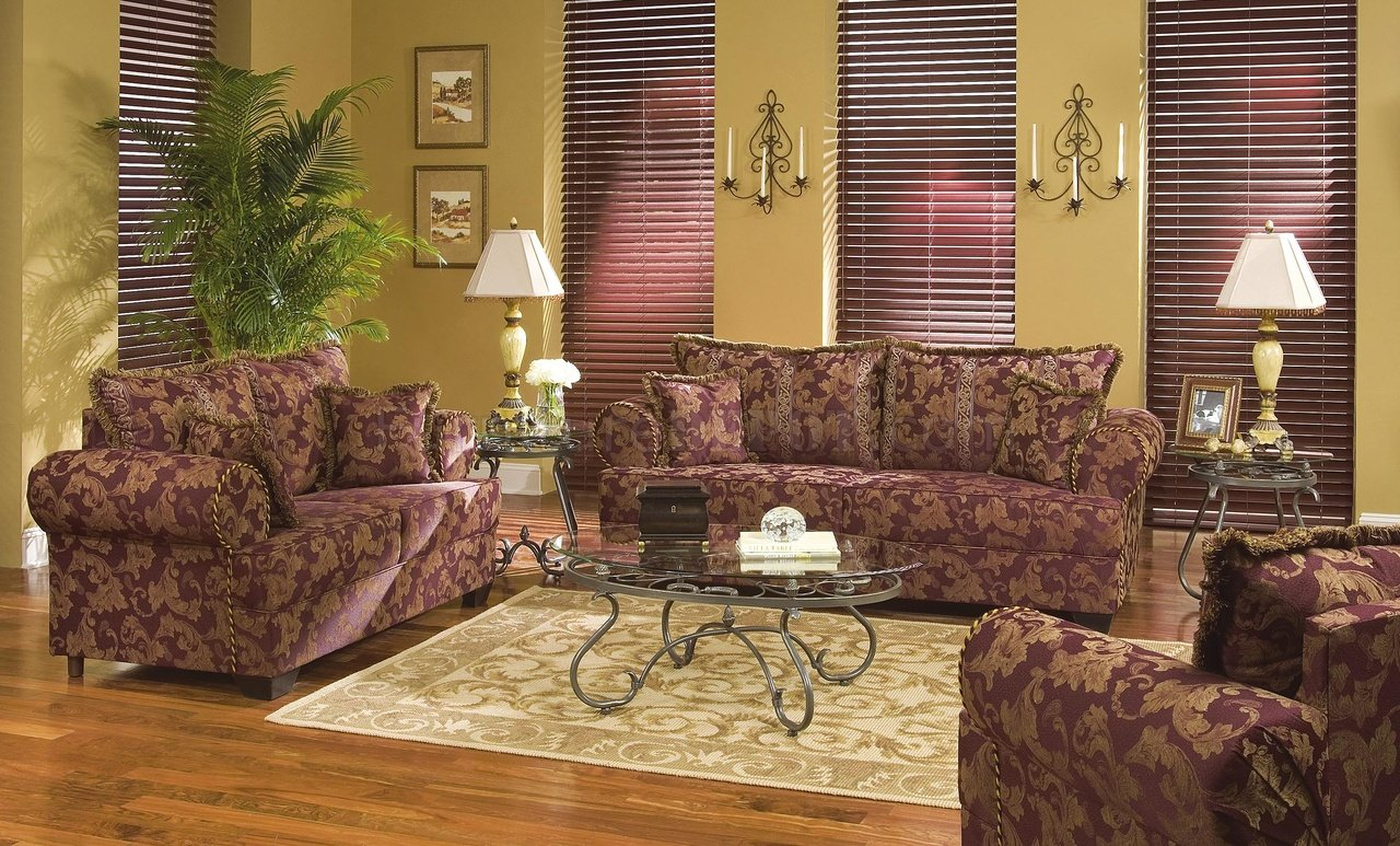 Rust Colored Fabric Contemporary Living Room wContrasting