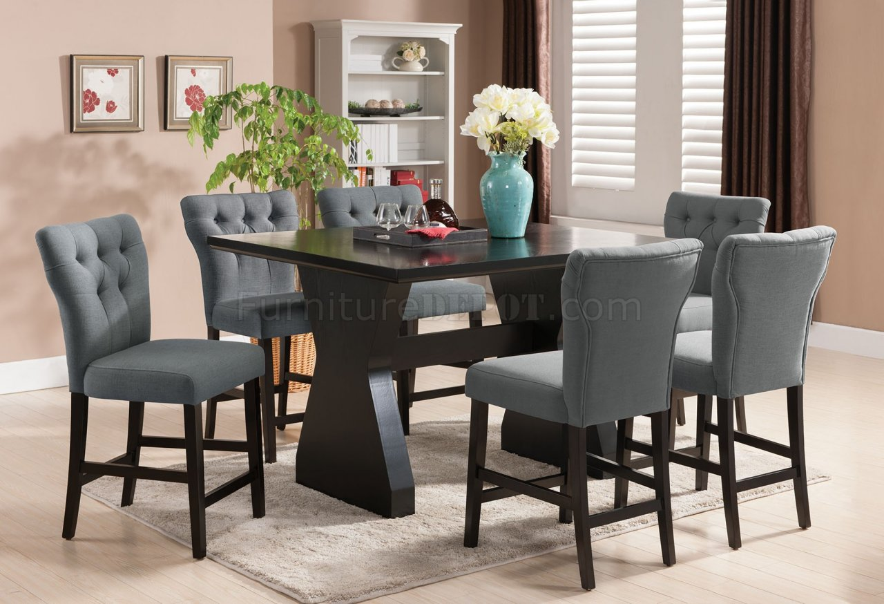Effie Counter Height Table 5pc Set By Acme W Grey Chairs