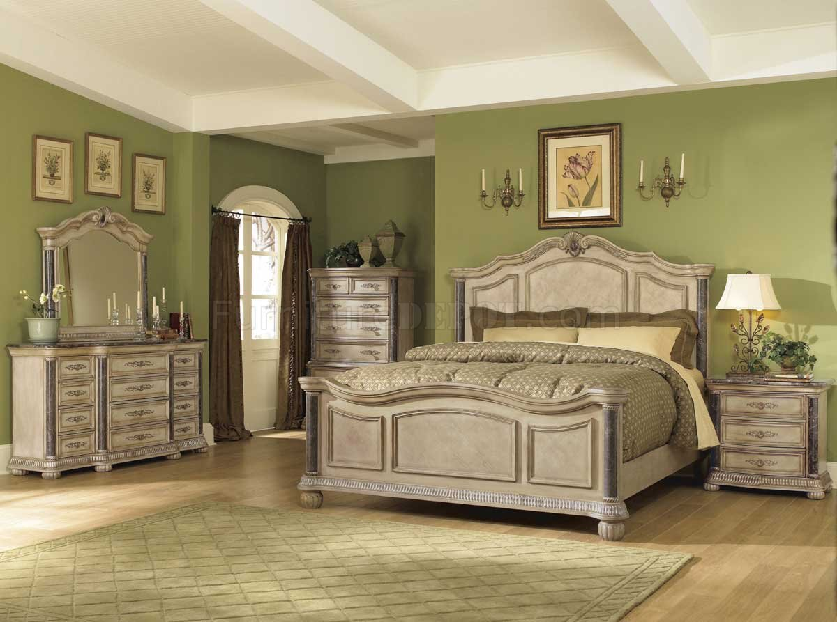 White Wash Finish Classic 5Pc Bedroom Set wMarble Tops