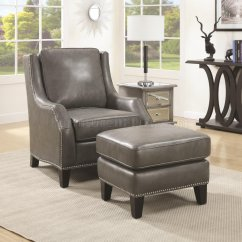 Accent Chairs With Ottoman Kids Salon 902408 Chair W In Grey Bonded Leather By