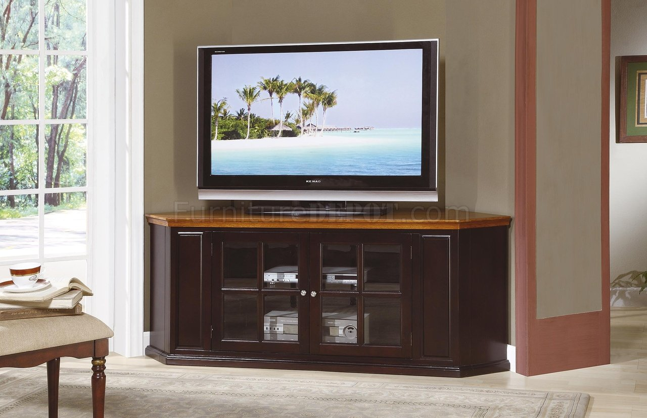 Espresso Finish Traditional Corner TV Stand WHoney Oak Top