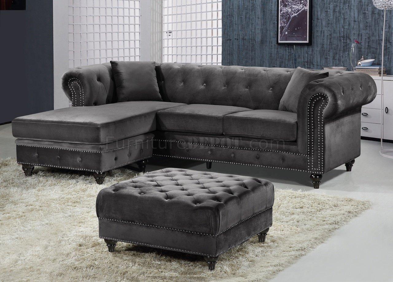 sabrina sofa 6 piece modular sectional 667 in grey velvet fabric by meridian