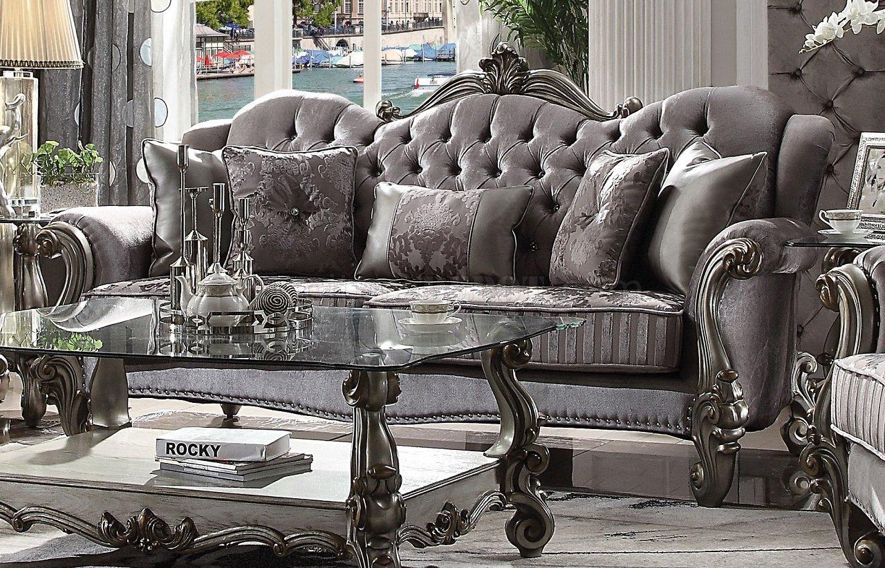modern fabric sofa set ikea klobo covers uk versailles 56840 in silver velvet & antique platinum ...