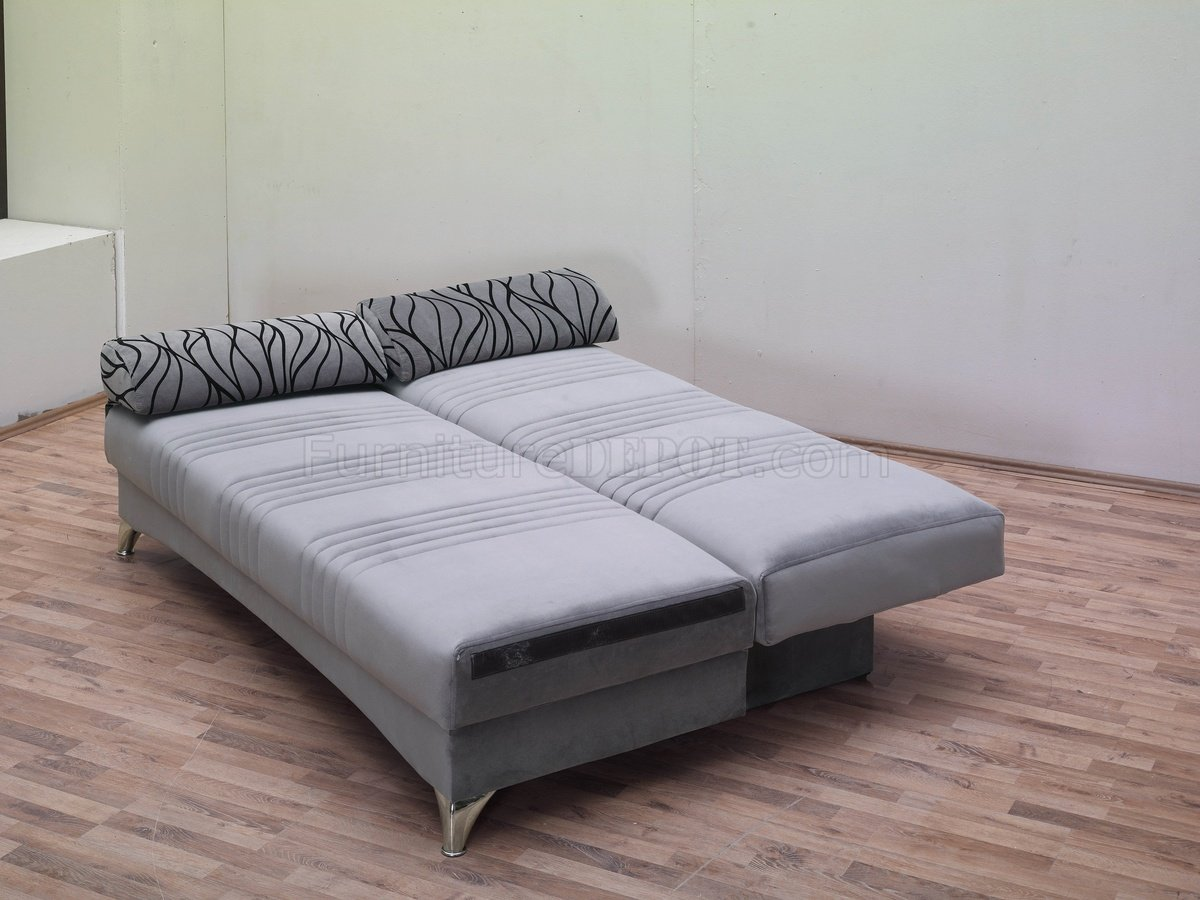 grey microfiber sleeper sofa leather and fabric dfs daisy bed convertible in by empire