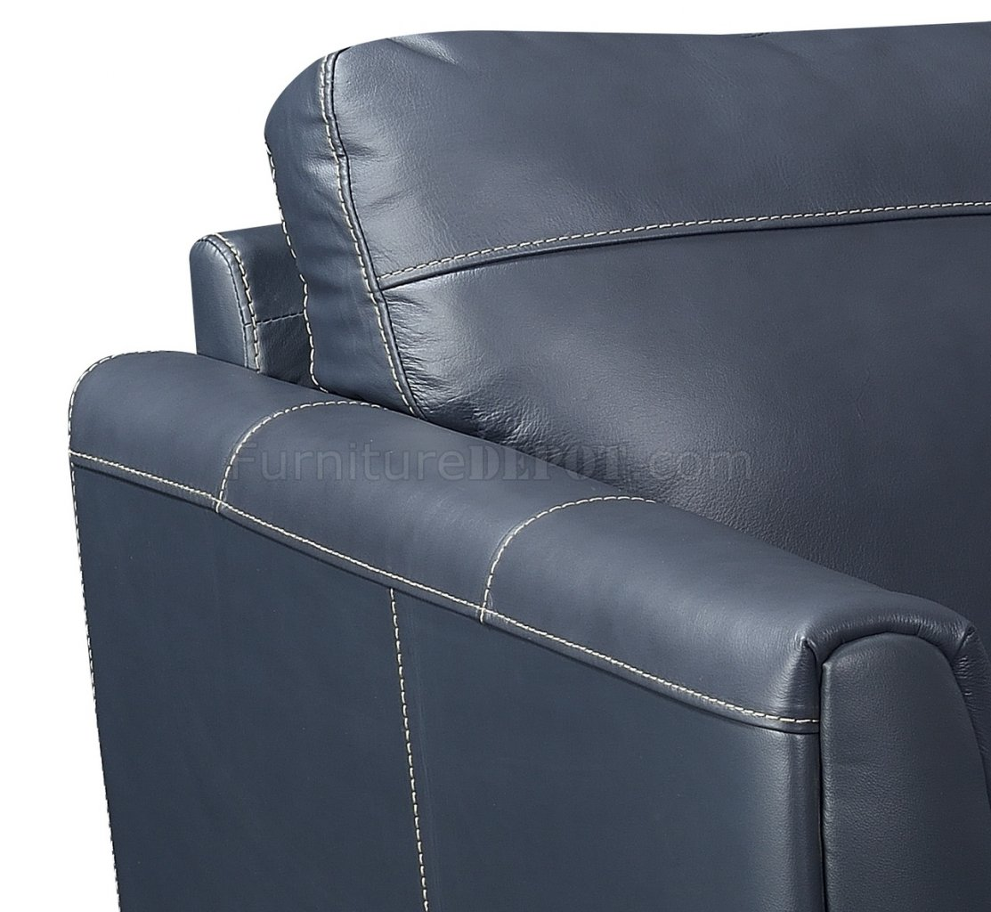 Anthony Sectional Sofa Chaise In Blue Leather Match