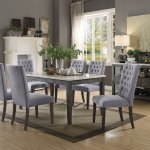 Merel 70165 7pc Dining Set In White Marble Gray Oak By Acme